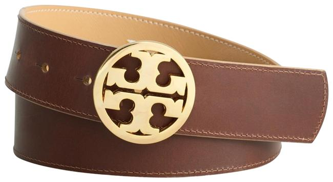 Item - Brown and Tan Reversible with Gold-tone Logo Belt