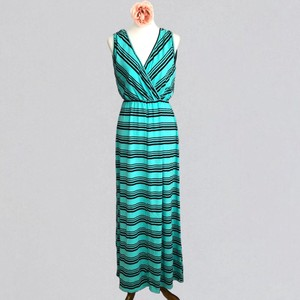 Teal and Black Striped Maxi Dress by Liberty Love Maxi