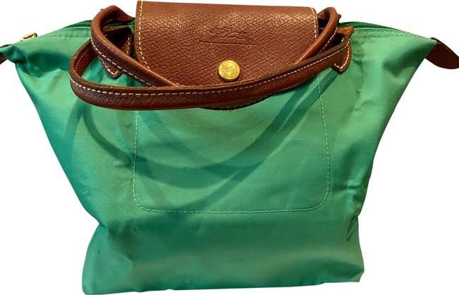 Item - Pliage Emerald Green Polyamide Canvas with Inside Coating and Brown Cowhide Trim. Gold Accessory Finishing Satchel