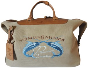 Tommy Bahama Leather Canvas Brown and Tan Travel Bag