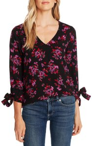 CeCe by Cynthia Steffe Floral Crepe V-neck Top Black