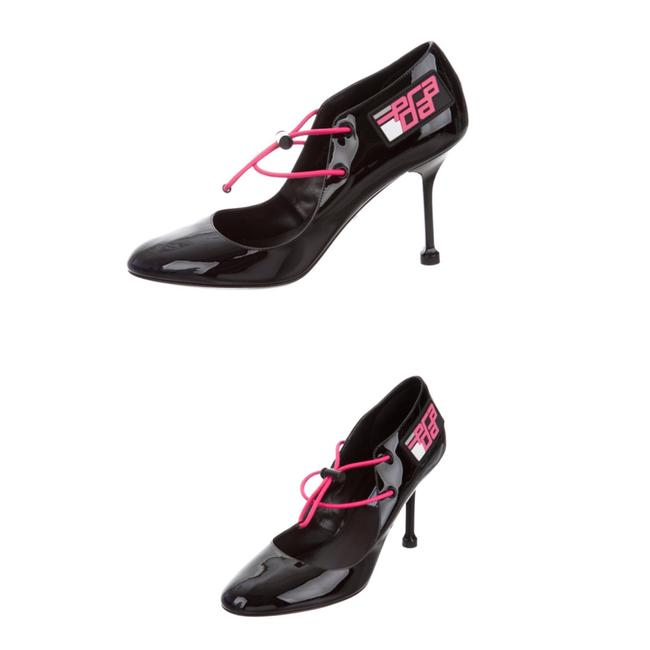 Item - Black/Pink Drawstring Patent Leather Black/Pink Pumps Size EU 36 (Approx. US 6) Regular (M, B)