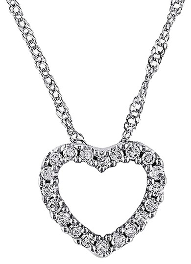 Other 14k White Gold 110 Ct Diamond Tw Heart Love Pendant Necklace Gh I2i3