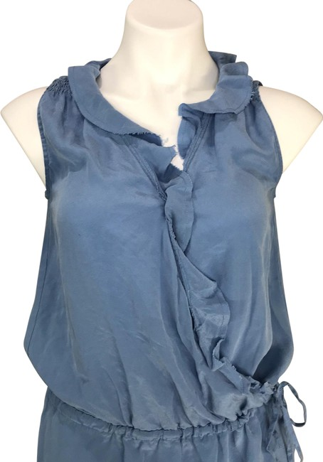 Item - Blue Silk Ruffle Faux Wrap Short Casual Dress Size 4 (S)