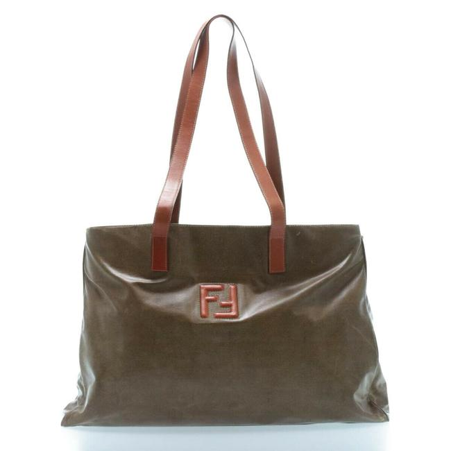 Item - Tote Bag XL Leather/Coated Khaki Brown/Burnt Orange Leather/Coated Canvas Satchel