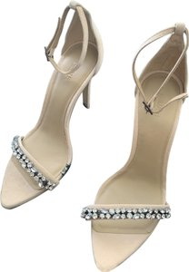 Animale Diamond Suede Detail High Heel Beige Sandals
