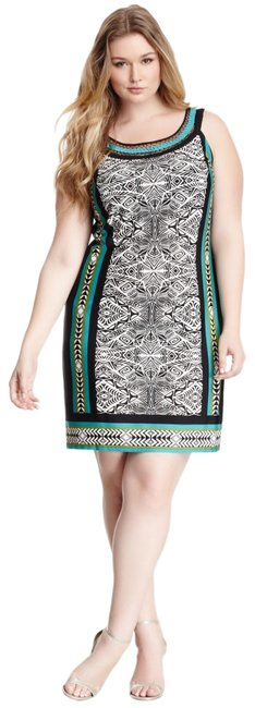 Item - Scarf Print Black-jade New Without Tag Short Cocktail Dress Size 20 (Plus 1x)