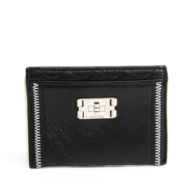 Item - Black / White Leather Card Wallet