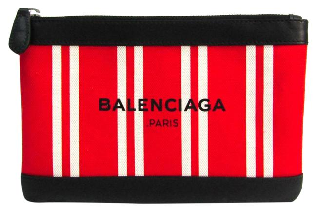 Item - Navy Clip S 420406 Unisex Black / Red Color / White Leather / Canvas Clutch