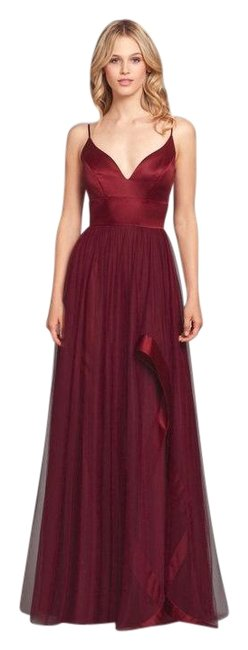 Item - Burgundy 5658 Satin V Neck Tulle Bridesmaid Gown Long Formal Dress Size 10 (M)