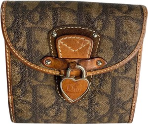 Dior Christian Dior Diorissimo Canvas Heart Lock Brown Leather Wallet