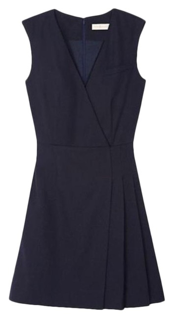 Item - Navy Stretch Suiting Wool Mid-length Work/Office Dress Size 2 (XS)