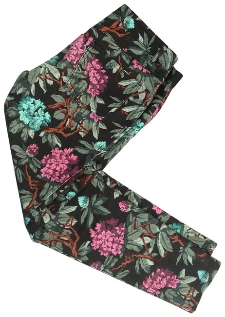 Item - Multicolor Floral Cropped By Skinny Jeans Size 28 (4, S)