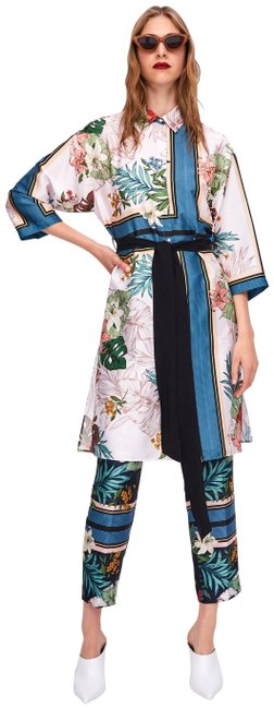 Item - Multicolor Tropical Printed Straight Cut Trousers Pants Size 2 (XS, 26)