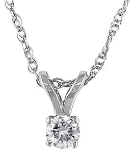 14k White Gold 110 Ct Diamond Solitaire Pendant Necklace With Chain I1-i2