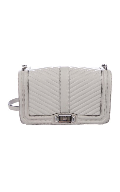 Rebecca Minkoff Love Quilted Gray/ Pearl Leather Cross Body Bag Rebecca Minkoff Love Quilted Gray/ Pearl Leather Cross Body Bag Image 1