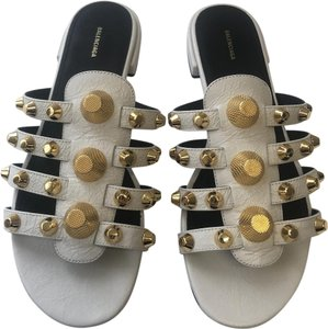 Balenciaga Leather Studded White Sandals