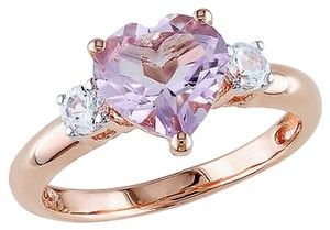 Pink Sterling Silver 2 Ct Rose De France Created White Sapphire Heart Love Ring