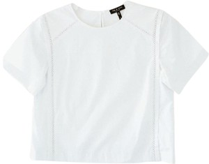 Rag & Bone Boxy Eyelet Short Sleeve Tee Top White
