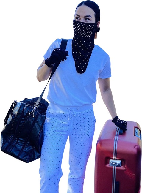 Item - Black Travel Kit: Rhinestone Face Balaclava with Ear Loops and Crystal Cotton Gloves Scarf/Wrap