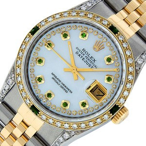 Rolex Mens Datejust Ss/Yellow Gold with MOP Emerald Dial Watch