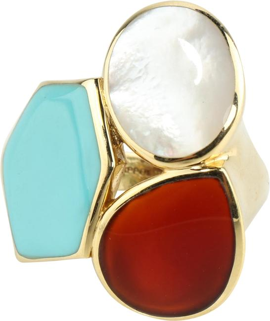 Item - Multicolor Riviera Candy Rock 18kt Turquoise Mop Carnelian Size 7 Ring