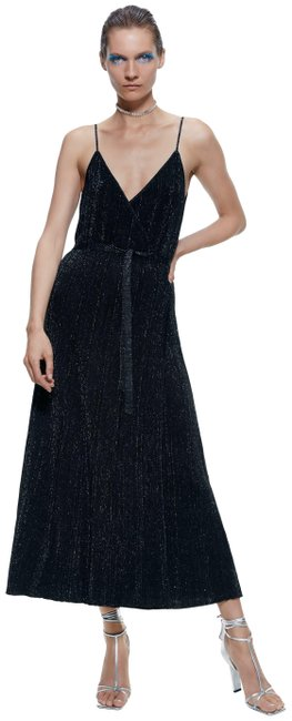 Item - Black New with Metallic Thread Ref 3390/100 Long Cocktail Dress Size 10 (M)