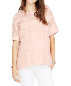 Hatch Burnout Floral Maternity Rose Sheer Top pink