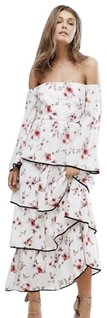 Foxiedox White Floral Off The Shoulder Tiered Ruffle Long Casual Maxi Dress Size 2 (XS) Foxiedox White Floral Off The Shoulder Tiered Ruffle Long Casual Maxi Dress Size 2 (XS) Image 1