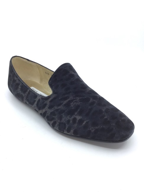 Item - Charcoal/ Black Charcoal/ Leopard Printed Suede Flats Size US 6.5 Regular (M, B)