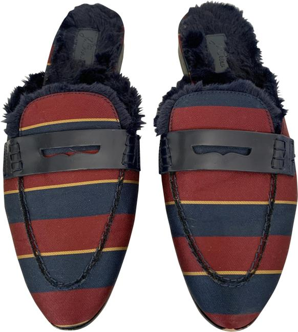 Item - Red Blue Pre-owner Faux Fur-lined Academy Penny Loafers Flats Mules/Slides Size US 9 Regular (M, B)