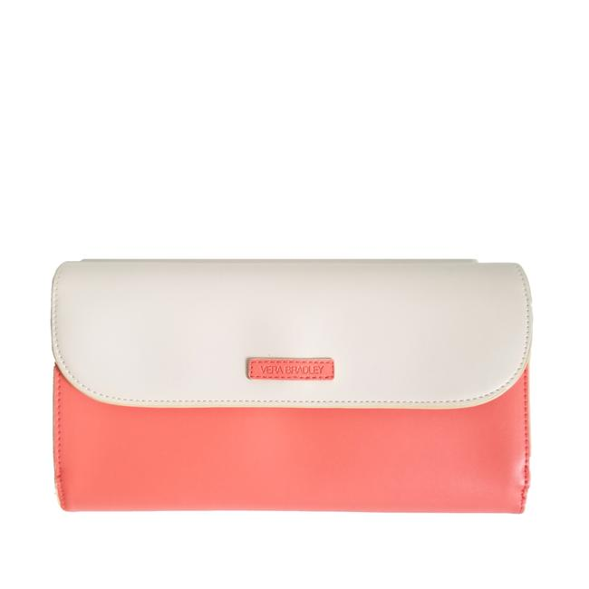 Item - Clutch Flap Coral and Cream Faux Leather Shoulder Bag