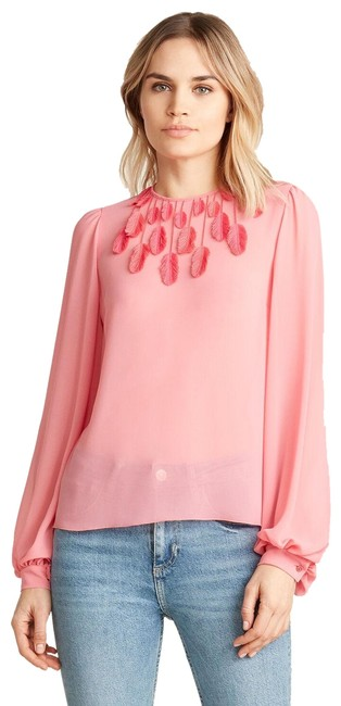 Item - Pink Feather Tassel Peasant Blouse Size 4 (S)