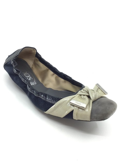 Item - Navy/ Grey/ Putty Knot Front Stretch Ballet Flats Size US 8 Regular (M, B)