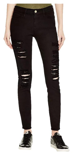 Item - Black Distressed Le Color Ripped In Film Noir Skinny Jeans Size 27 (4, S)
