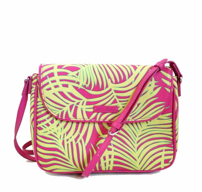 Item - Palm Fronds Flap Pink and Green Faux Leather Cross Body Bag