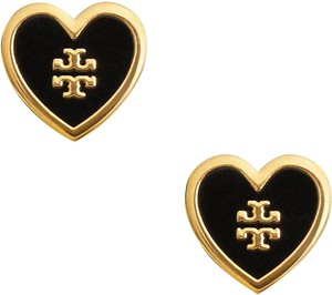 Tory Burch LACQUERED LOGO HEART STUD EARRING