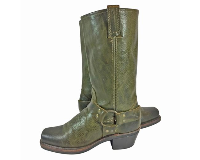 Item - Green 77300 Leather Harness Motorcycle Women's Boots/Booties Size US 7 Regular (M, B)