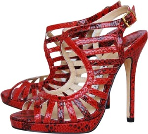 Jimmy Choo Snake Limited Edition High Heels Sex In The Sity Red Sandals