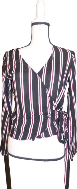 Item - Black/ White/ Red Junior's Multi Colored Stripe Tie Wrap S Blouse Size 4 (S)
