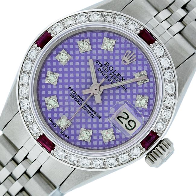 Item - Purple Stamp Ladies Datejust Stainless Steel with Diamond Dial Watch