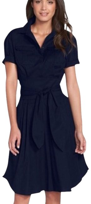 Item - Navy Blue Belted Poplin Fit & Flare Shirtdress*nwt Mid-length Work/Office Dress Size 2 (XS)