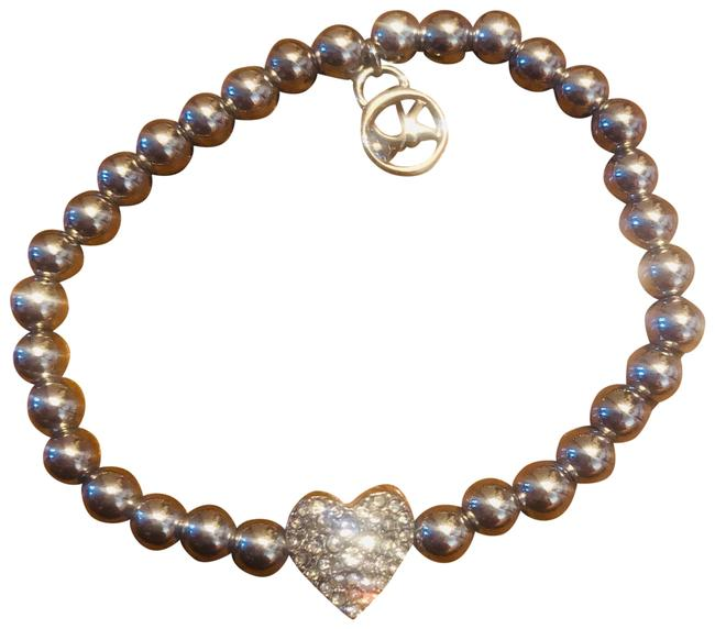 Item - Silver Logo Pave Crystal Heart Beaded Bracelet