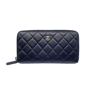 Chanel Lambskin Quilted Large Gusset Zip Around Wallet Black