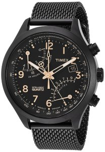 Timex Intelligent Quartz Fly-Back Chrono Black Stainless Steel Mesh Bracelet