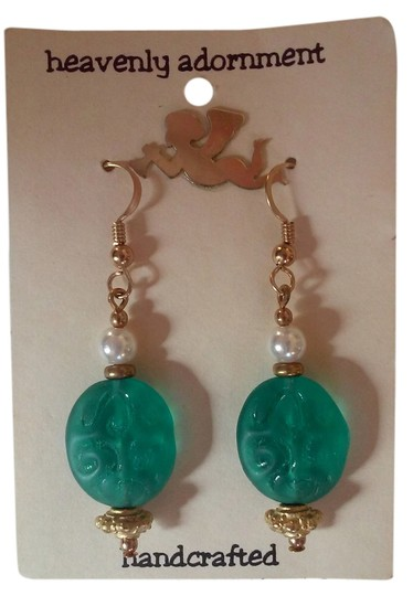Preload https://item1.tradesy.com/images/green-gold-and-pearl-white-handmade-beaded-french-hook-pierced-dangle-drop-earrings-2741695-0-0.jpg?width=440&height=440