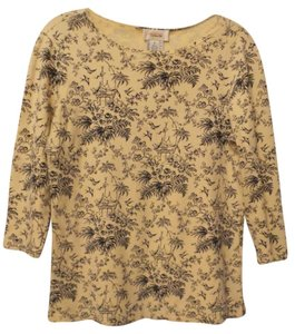 Talbots Oversized Knit Toile Asian Top Yellow, blue