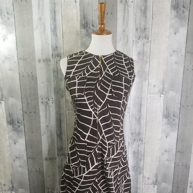 Item - Brown & White Palm Print Sleeveless Mid-length Short Casual Dress Size 4 (S)