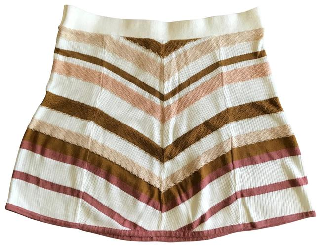 Item - White Mauve Pink Earth Tan Toned Lyocell Knitted Skirt Size 8 (M, 29, 30)