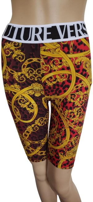 Item - Gold Red Multicolor Baroque Print Shorts Jeggings Size 26 (2, XS)